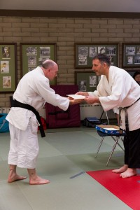 Sensei Dan van Hook receiving his Okugi 2013 Kaidensho