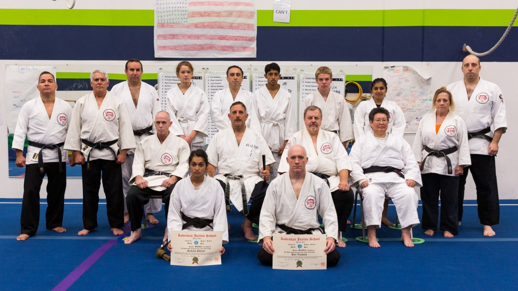 The Kodenkan Adult class on September 1st, 2015. Samik Shenoy promoted to shodan, and Dan van Hook promoted to Sandan