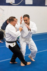 Fyodor performs uchi gama on Sensei Guillermo Hernandez, Jr.