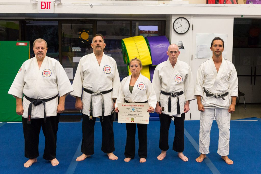 Sensei Tammy Webb is promoted to godan (5th degree). With Profs. Tony Janovich, Clive Guth, and George Arrington, and Sensei Mike Urmeneta
