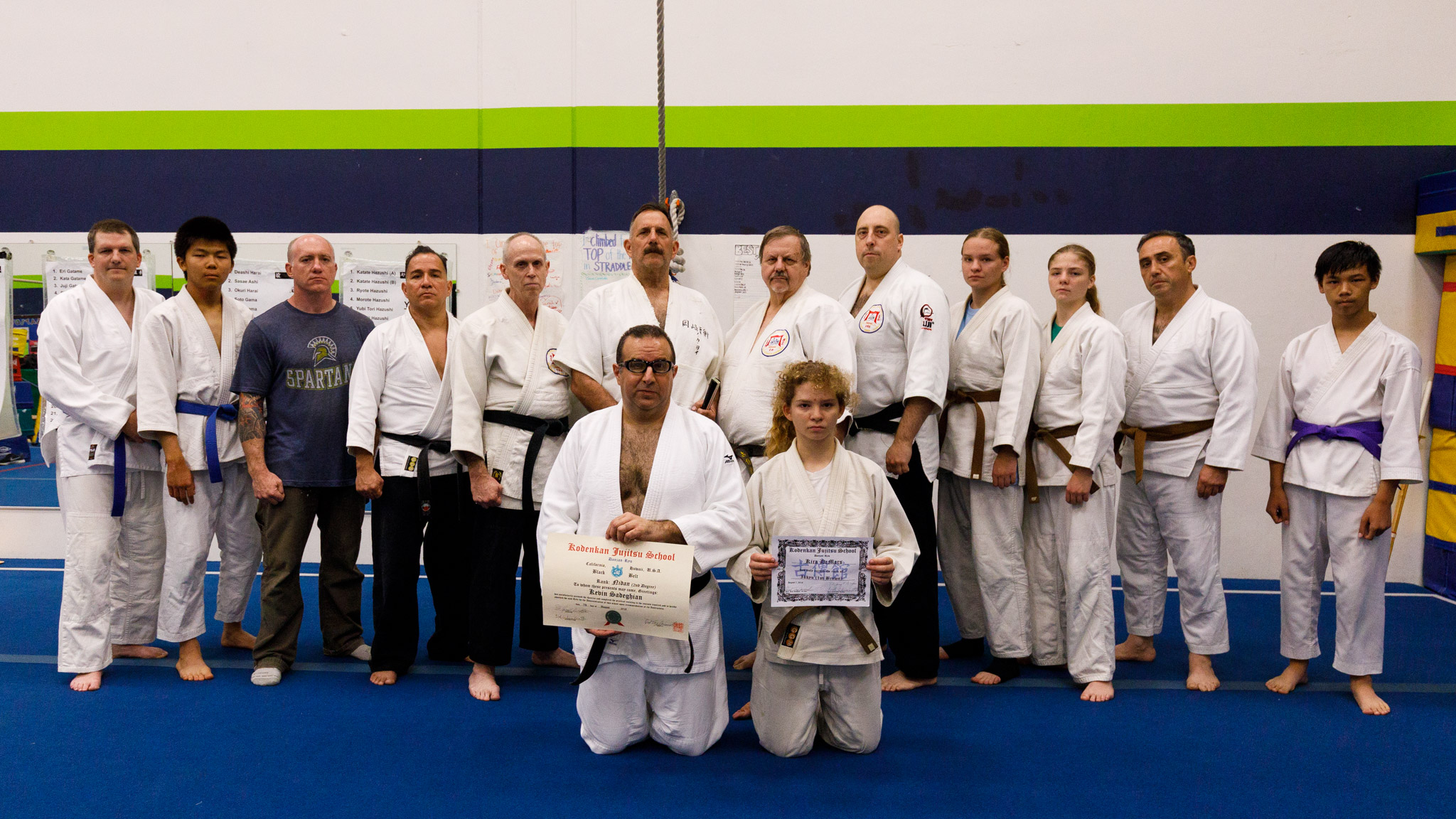 Kevin Sadeghian is promoted to nidan (2nd degree black belt), and Kira is promoted to ikkyu (1st degree brown belt)