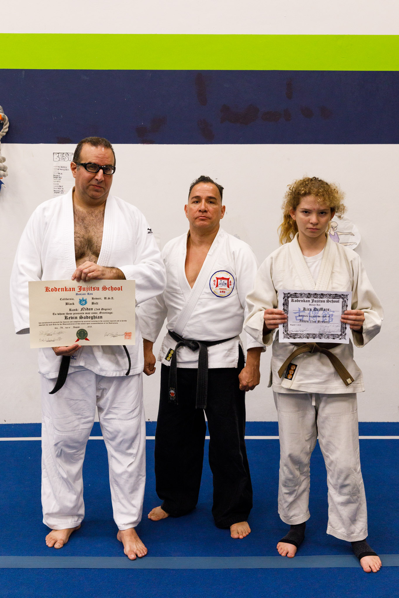 Sensei Guillermo Hernandez, Jr. with promotees Kevin and Kira